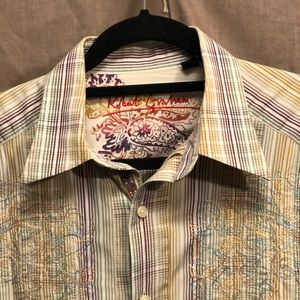 Robert Graham Shirts - Robert Graham striped embroidered dress shirt L
